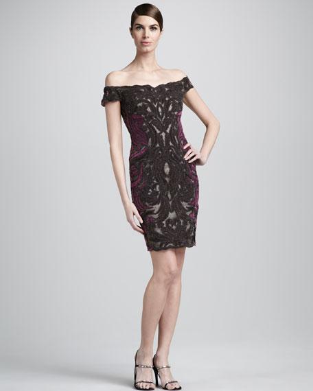Embroidered Velvet-Front Dress