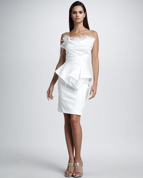 Feather-Detail Peplum Dress