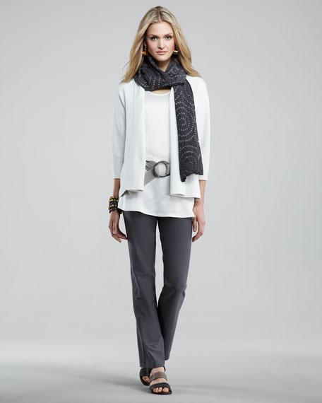 Washable-Crepe Slim Boot Cut Pants, Women's