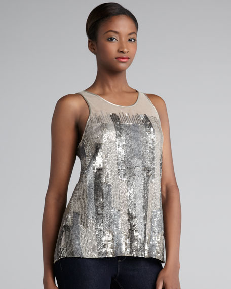 Sheer-Top Sequined Tank
