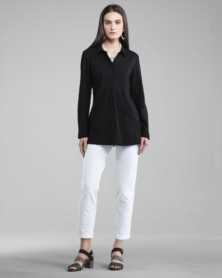 Washable-Crepe Slim Cropped Pants, Women's