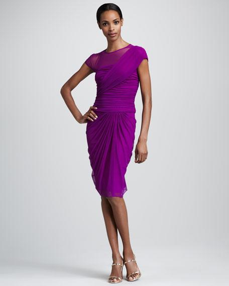 Cap-Sleeve Asymmetric Illusion Dress
