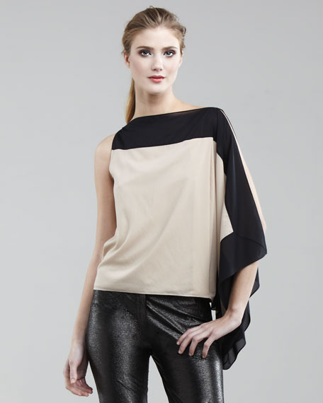 Colorblock One-Sleeve Blouse
