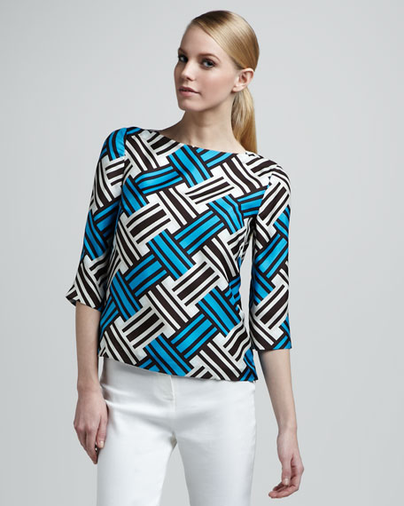 Boat-Neck Printed Top