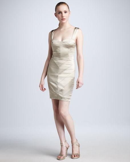 Seamed Satin Dress