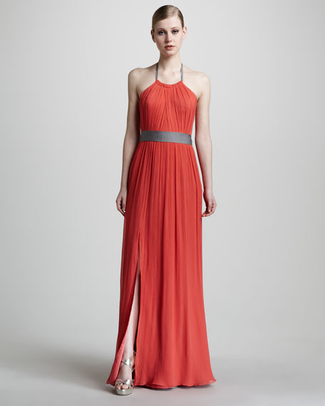 Crinkled Chiffon Halter Gown