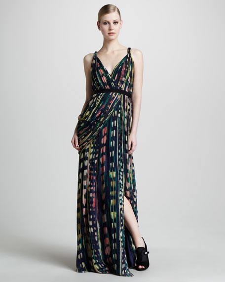 Watercolor-Print Gown