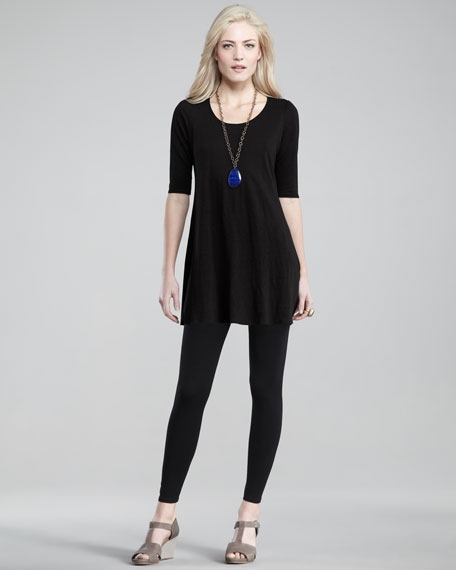 Linen-Jersey Dress, Petite