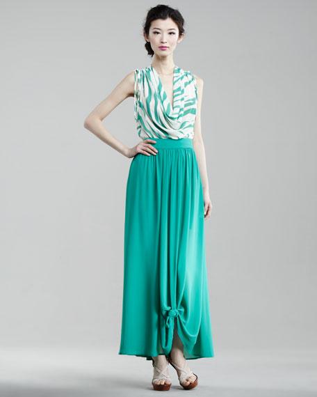 Silk Knot-Hem Maxi Skirt