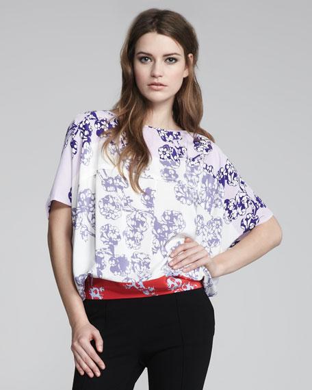 Landy Tricolor Floral-Print Blouse