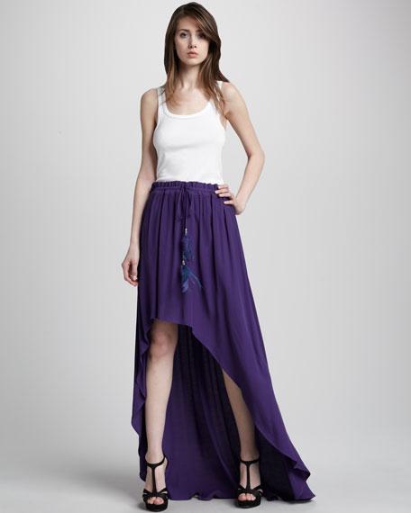 Ziggy Feather-Detail High-Low Skirt