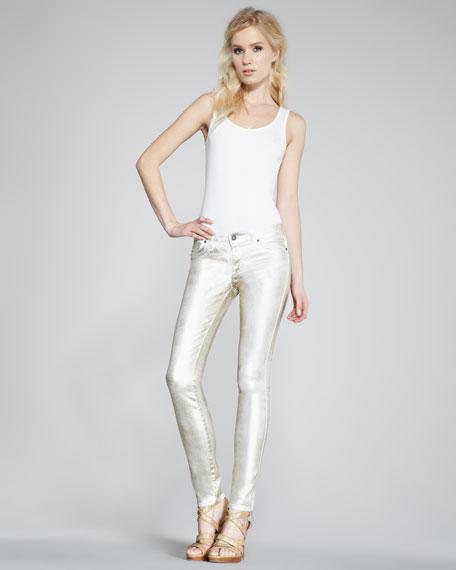 Legacy White Gold Metallic Jeans