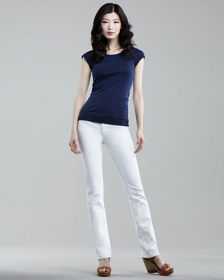 Ballad Optic White Slim Boot-Cut Jeans