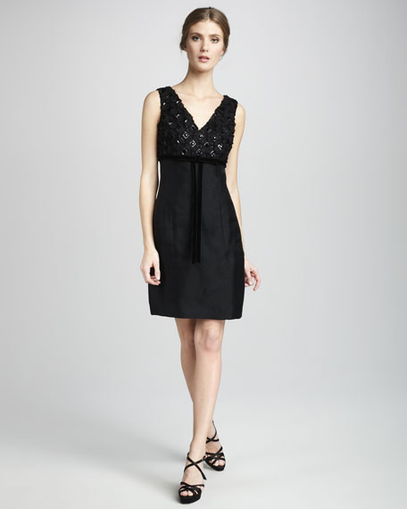 Gena Doupioni Dress, Black