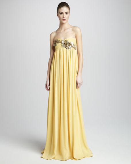 Eva Beaded Strapless Gown