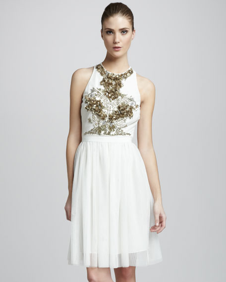 Esperanza Beaded Dress, Buff