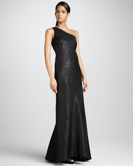 One-Shoulder Jacquard Gown