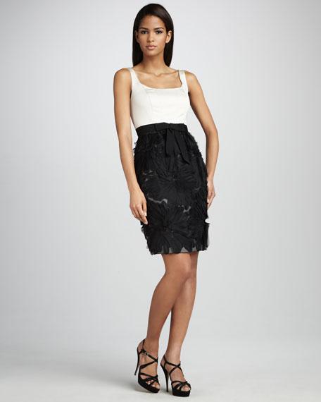 Floral-Skirt Cocktail Dress