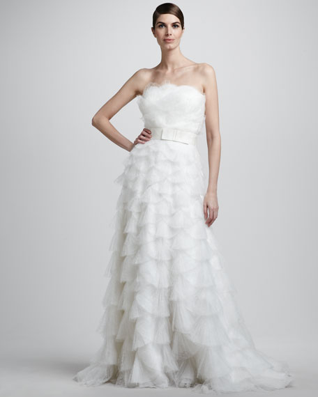 Fan-Pleated Ballgown