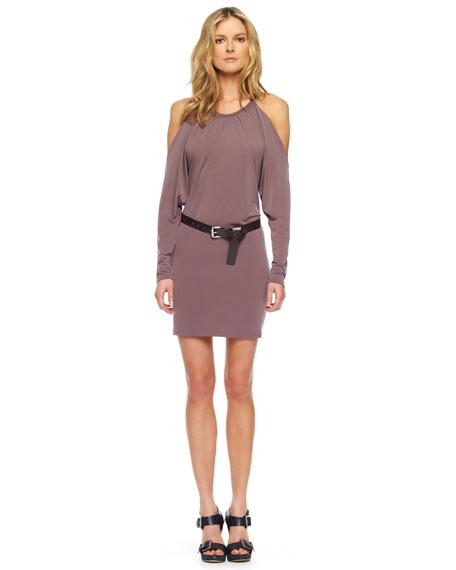 Belted Cold-Shoulder Dress, Mink