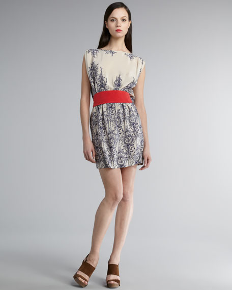 Belted Silk Dress