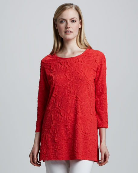 Ruffle-Rose Long Tunic