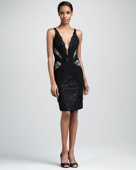 Lace and Chiffon Deep-V Dress
