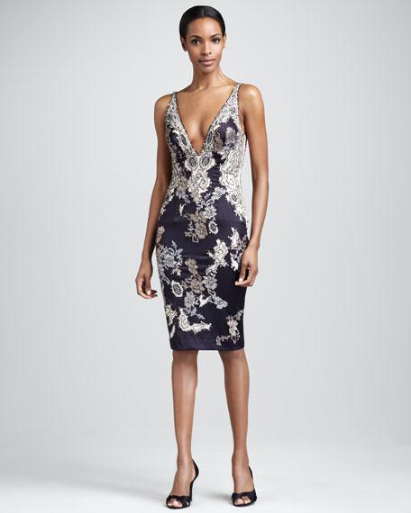 Plunging V-Neck Beaded Dress