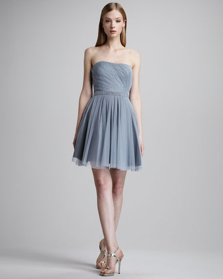 Strapless Pleated Mesh Dress