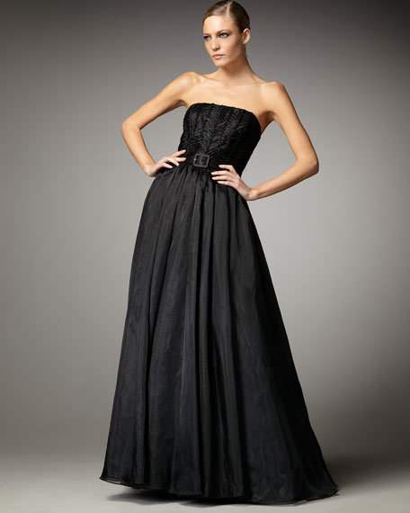 Strapless Belted Ball Gown