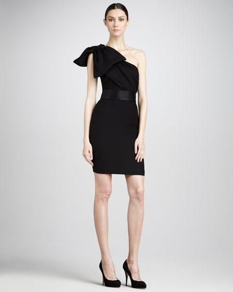 Shoulder-Bow Cocktail Dress