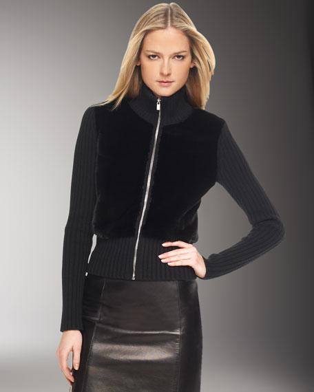 Knit-Trim Mink Zip Sweater