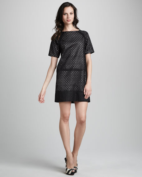 Short Sleeve Cutout Detail Sheath Dress