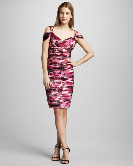 Abstract-Print Cocktail Dress