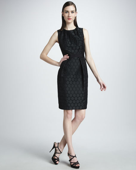Dot-Jacquard Cocktail Dress