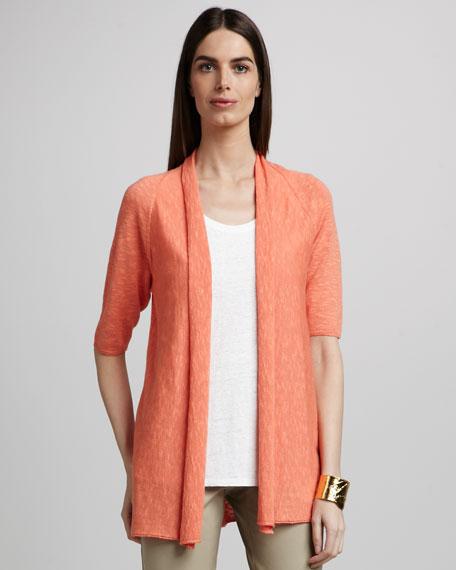 Linen Raglan-Sleeve Cardigan