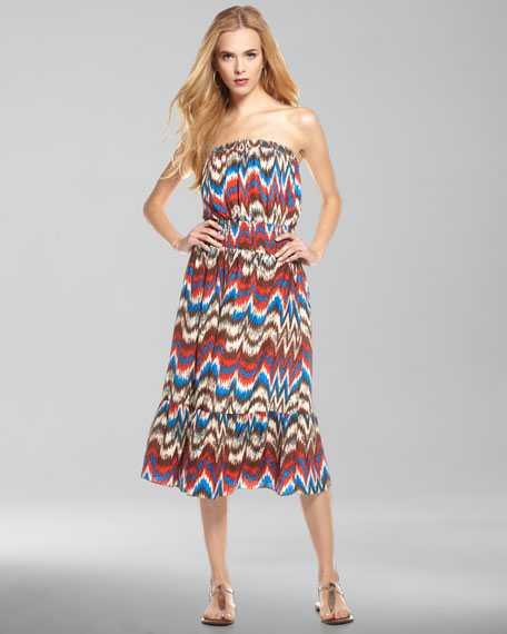 Zig-Zag Strapless Dress