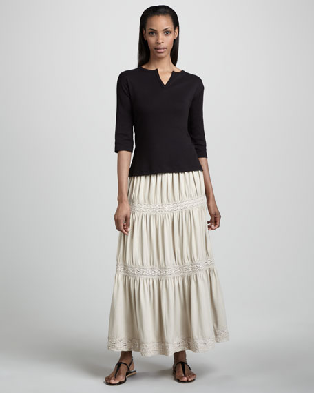 Lace-Trim Tiered Maxi Skirt, Women's