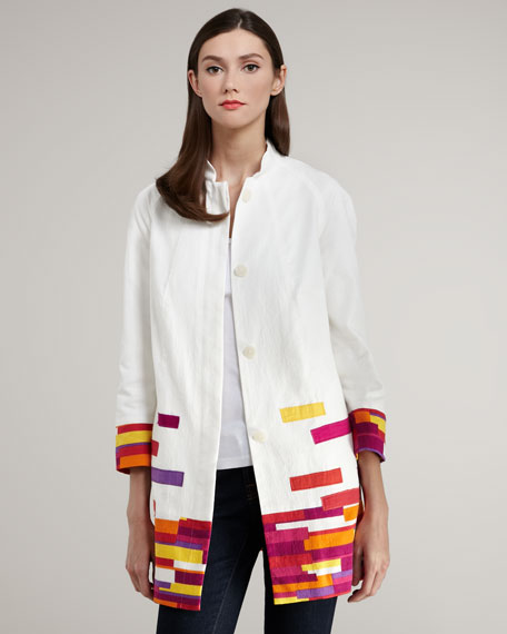 Colorblock-Trim Jacquard Jacket