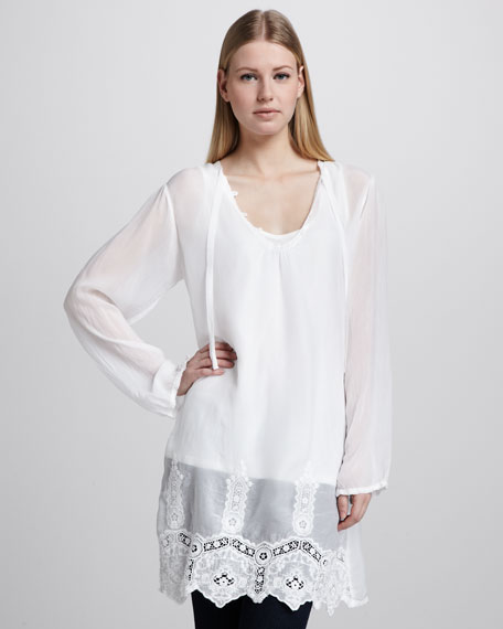 Long Lace-Hem Tunic