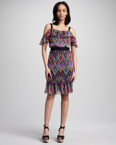 Ruffle Top Print Dress