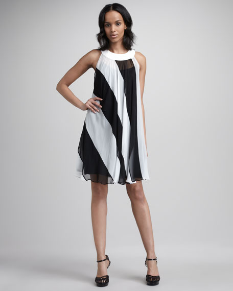 Chiffon Two-Tone Shift Dress