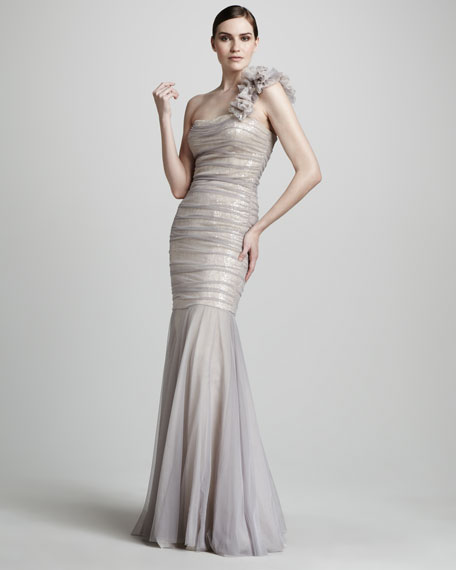 One-Shoulder Ruched Tulle Gown