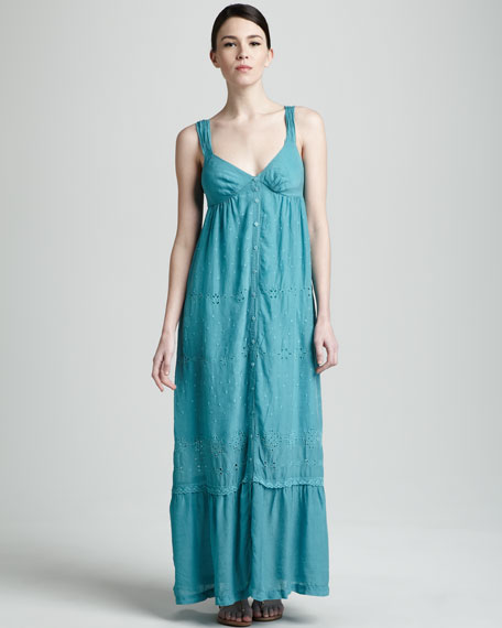 Eyelet-Stripe Maxi Dress