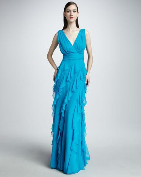 Ruffled Chiffon Gown