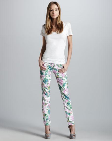 Kauai Floral-Print Skinny Jeans
