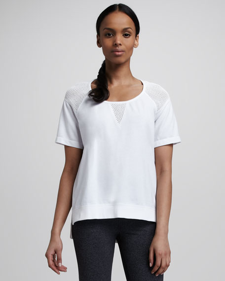 Perforated Short-Sleeve Pullover