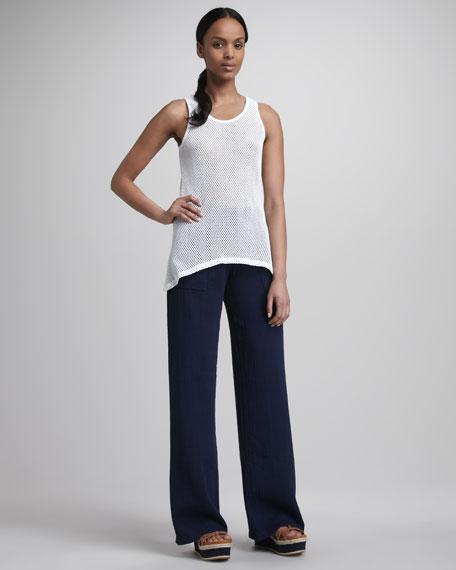Wide-Leg Jersey Pants, Navy