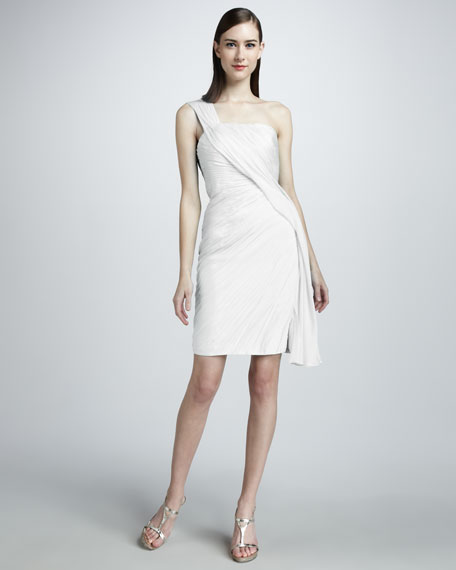 One-Shoulder Gathered Cocktail Dress