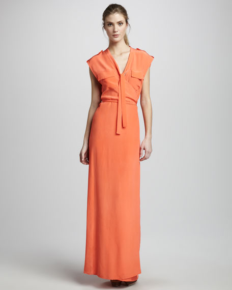 Cargo-Pocket Silk Maxi Dress